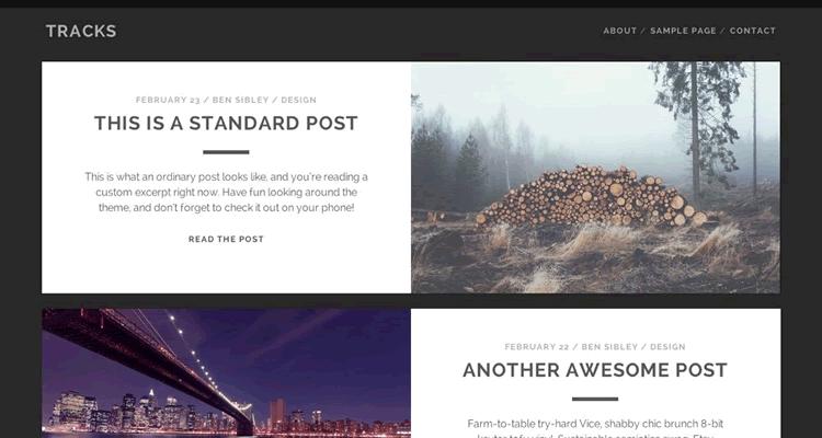 Tracks тема WordPress для дизайнера или фотографа