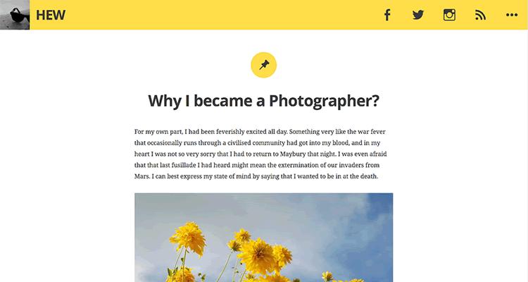 Hew простая тема для блогеров для WordPress