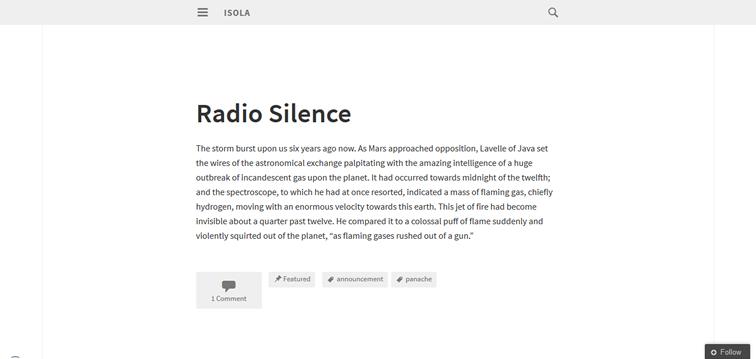 Isola wordpress для авторов или блогеров