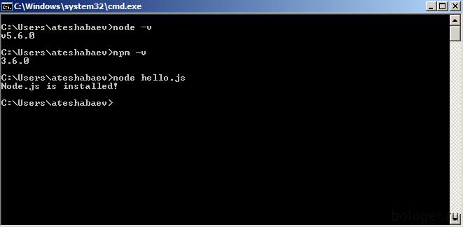 Проверка установки Node.js
