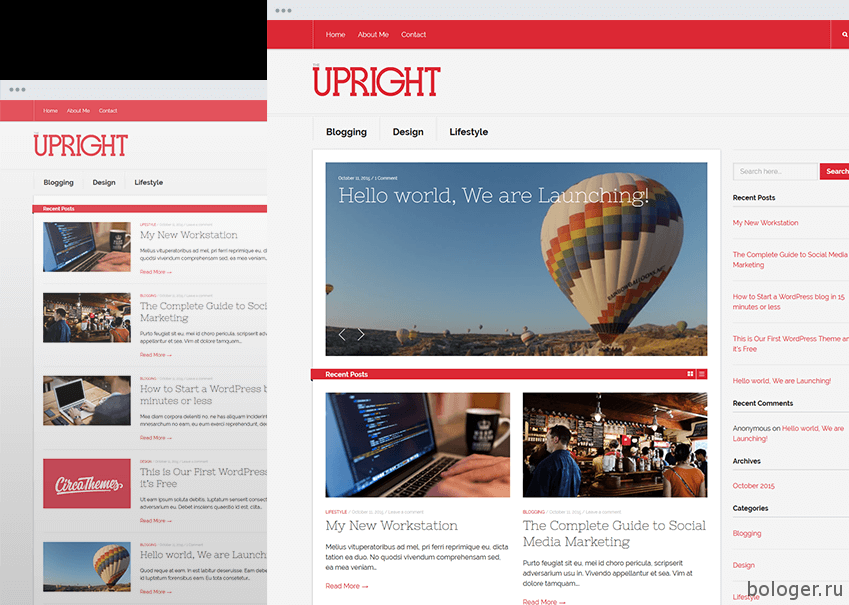 UPRIGHTResponsive Blog Magazine Theme