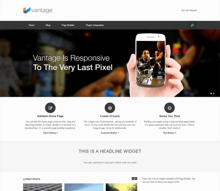 Vantage WordPress шаблон