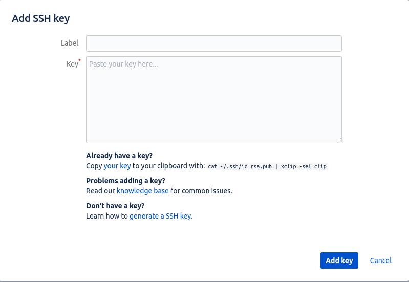 Модальное окошко, добавить ключ Bitbucket