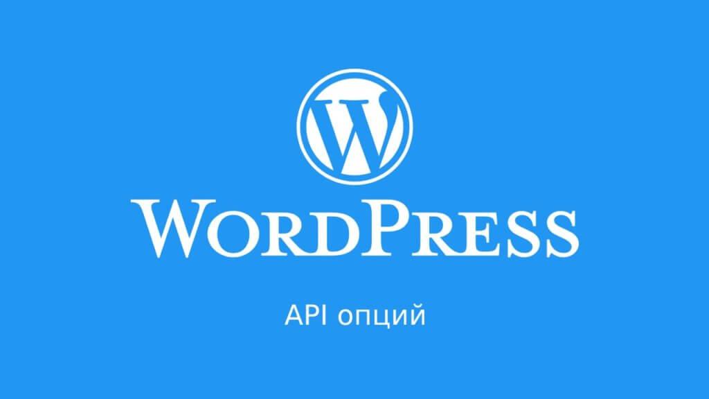 WordPress: API опций