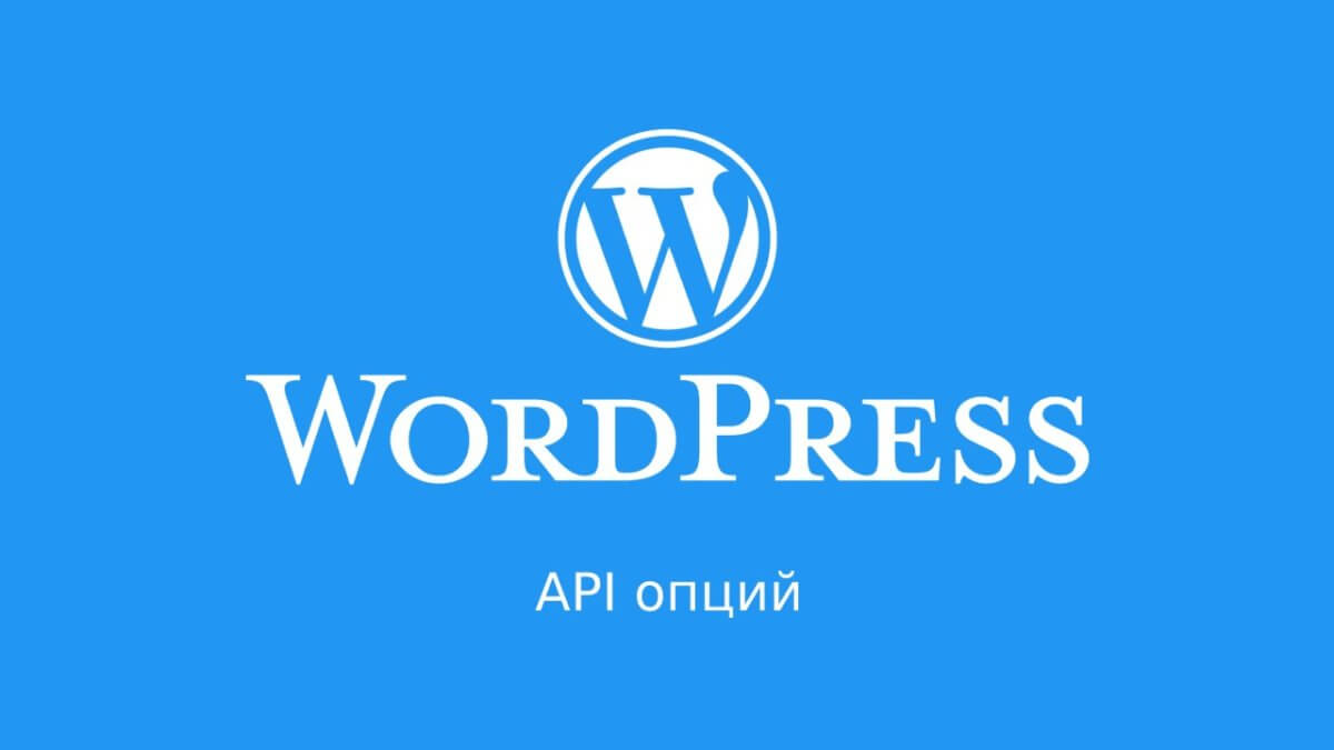 WordPress: API опций